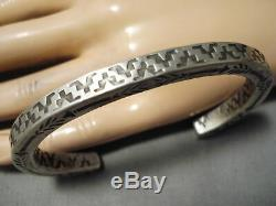 Thick And Heavy! Navajo Sterling Silver Pueblo Geomtric Bracelet