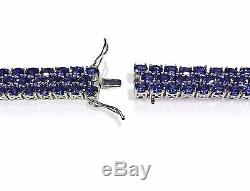 Three Row 30ct Tanzanite White Gold on 925 Sterling Silver Tennis 3 Row Bracelet