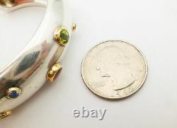 Tiffany & Co. 925 Sterling Silver 18k YG Etoile Multi-Gemstone Cuff Bracelet