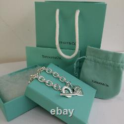 Tiffany & Co. 925 Sterling Silver 7.5 Heart Tag Charm Bracelet