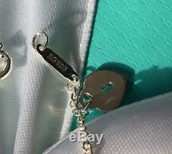 Tiffany & Co Dangle charm bracelet heart lock star blue enamel 6.75'' mini