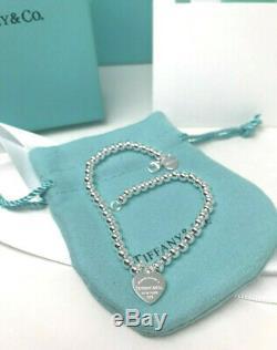 Tiffany & Co. Enamel 925 Solid Sterling Silver 7.5 Bead Ball Bracelet