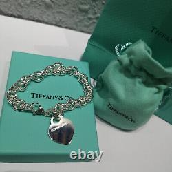 Tiffany & Co. Heart Tag Charm Bracelet Chain 925 Sterling Silver 8.26 Bracelet
