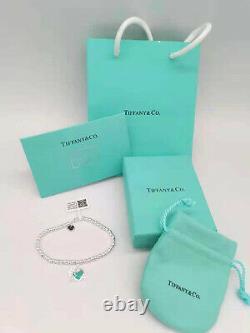 Tiffany & Co Return Mini Heart Enamel Blue Bracelet -7withBag Sterling Silver 925