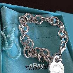Tiffany&Co Return To Tiffany Heart Charm Bracelet Sterling Silver Medium 7.5'