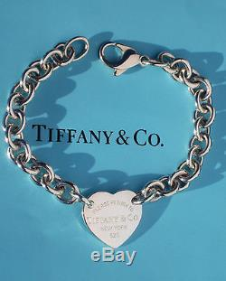 Tiffany & Co Return To Tiffany Sterling Silver Heart Tag Charm Curved Bracelet