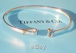 85694ae2c Tiffany & Co Sterling Silver & 18ct 18k Yellow Gold Hook & Eye Bracelet  Bangle