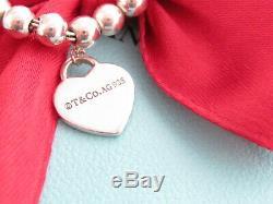Tiffany & Co Sterling Silver 925 Heart Return To Bead Bracelet 7