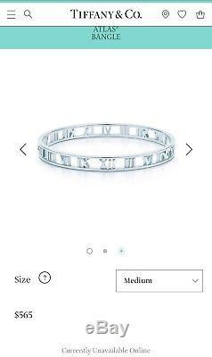 Tiffany & Co Sterling Silver Atlas Bracelet Bangle 7 With Pouch