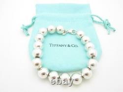 Tiffany & Co. Sterling Silver Bead Ball Bracelet 7 1/2 Pouch A