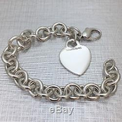 Tiffany & Co Sterling Silver Blank Heart Tag Bracelet Size Medium 7.75