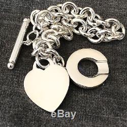 Tiffany & Co Sterling Silver Blank Heart Toggle Donut Link Bracelet