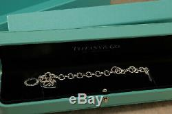 Tiffany & Co Sterling Silver Heart Tag Charm Bracelet with Box Free USA Ship