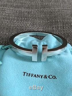Tiffany & Co. Sterling Silver T Square Hinged Bangle Cuff Bracelet NWOT