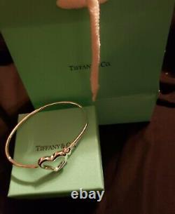 Tiffany & Co Yellow Gold Sterling Silver Heart Style Bangle Bracelet