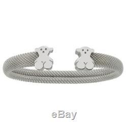 Tous Sterling Silver Mesh Icon Bear Cuff Bracelet