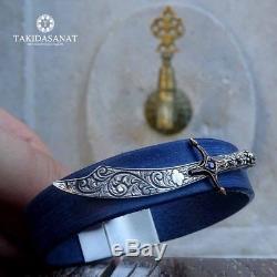 Turkish Handmade 925 Sterling silver slamic Men's Ring+Leather Silver Bracelet