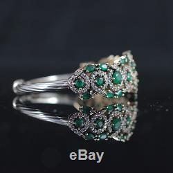 Turkish Handmade Emerald Sterling Silver 925k Bracelet Bangle Cuff #ykb2