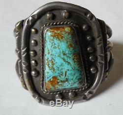 Turquoise Cuff Bracelet Native American Indian OLD PAWN Heavy GORGEOUS Sterling