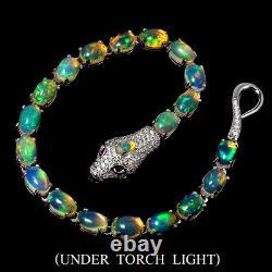 Unheated Oval Fire Opal Rainbow 7x5mm Cz 925 Sterling Silver Cobra Bracelet 7in