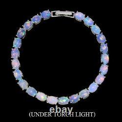 Unheated Oval Fire Opal Rainbow Full Flash 7x5mm 925 Sterling Silver Bracelet