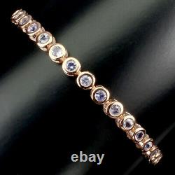 Unheated Round Blue Tanzanite 3mm Natural 925 Sterling Silver Bracelet 10 Inches
