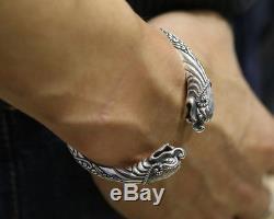 Viking Fenrir Pengan pure Solid 925 Sterling Silver Handmade Warriors Bracelet