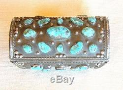 Vintage 1940s Old Pawn Sterling Silver Turquoise Bow Guard Cuff Bracelet s7.5