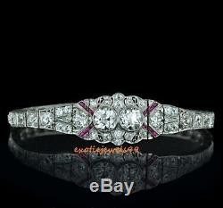 Vintage Art Deco Twin Diamond D/VVS1 925 Sterling Silver Fine Bracelet 7 Inches
