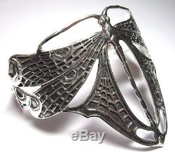 Vintage Art Nouveau Deco Style Sterling Silver Dragonfly Cuff Bangle Bracelet
