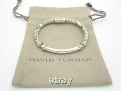 Vintage David Yurman Sterling Silver & Gold 5mm Metro Cable Bracelet SMALL A