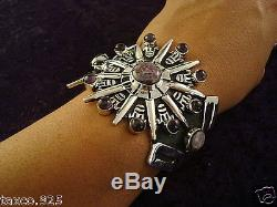 Vintage Design Taxco Mexican 925 Sterling Silver Amethyst Cuff Bracelet Mexico