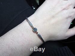 Vintage Ed Levin Blue Topaz Sterling Silver and 14k Gold Bangle Bracelet