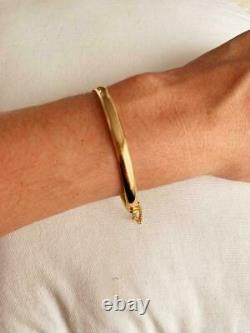 Vintage & Estate 18K Yellow Gold Over 7.5 Bangle Bracelet with Chain Link RARE