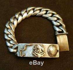 Vintage Heavy Sterling Silver & 10k gold Aztec Calendar Biker Bracelet SIGNED
