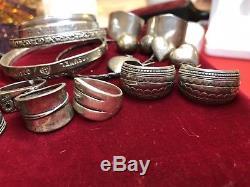 Vintage MIX Lot Of Sterling Silver Jewelry Bangle Bracelets Earrings Rings 5 Oz