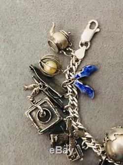 Vintage Mechanical Moving Articulated 3D STERLING SILVER 925 Charm Bracelet 86+G