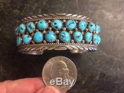 Vintage Navajo James Shay JS Sterling Silver Kingman Turquoise Cuff Bracelet 925
