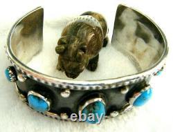 Vintage Old Pawn Blue Kingman Turquoise Navajo Sterling Silver 925 Cuff Bracelet