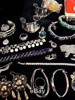 Vintage STERLING SILVER JEWELRY LOT MEXICO LAPIS Bracelet TAXCO Earring Brooch