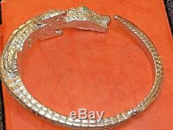 Vintage Sterling Silver Alligator Bracelet Made In Italy Green Emerald Eyes