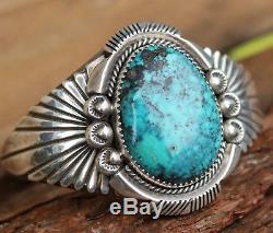 Vintage Sterling Silver Bangle Navajo Cuff Bracelet Turquoise C. Draper Jewellery