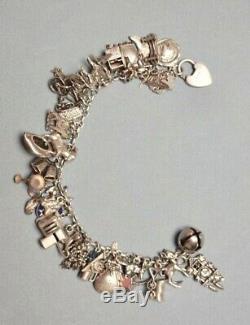 Vintage Sterling Silver Charm Bracelet, Hallmarked Sterling Silver, 39 Charms