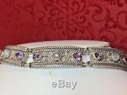 Vintage Sterling Silver Designer Signed Sajen Bracelet Amethyst Aquamarine Gems