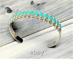 Vintage Sterling Turquoise Fred Harvey Era Cuff Bracelet