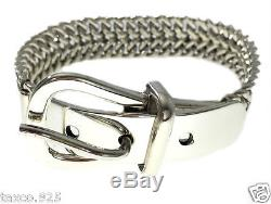 Vintage Style Taxco Mexican Sterling Silver Belt Buckle Chain Bracelet Mexico