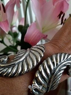 Vintage Taxco Mexico Sterling Silver Cuff Repousse Clamper Hinger Bracelet