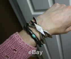 Vintage Thick Heavy Native American Navajo Sandcast Sterling Cuff Bracelet
