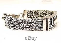 Vtg Sterling Silver Bali Byzantine Chain Bracelet 4 Strand Cable Heavy 6 7/8