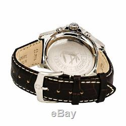 Wenger Men's Watch Squadron Chrono Silver Tone Case Black Leather Strap 77052